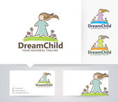Dreams Child vector logo with alternative colors and business card template
