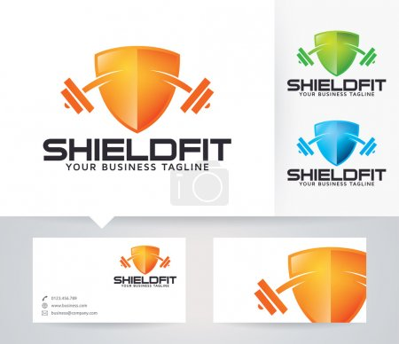Shield Fitness vector logo with alternative colors and business card template