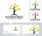 Star Tree vector logo with alternative colors and business card template