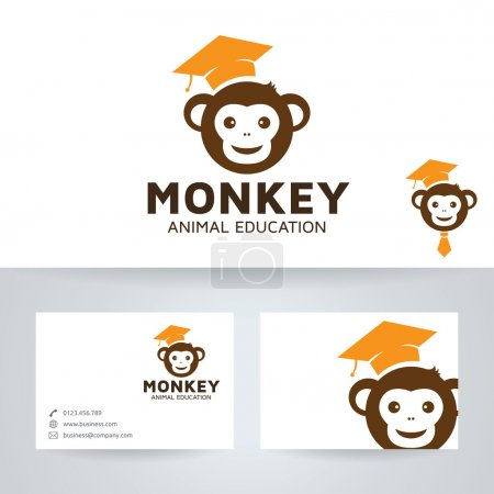 Monkey education vector logo with business card template