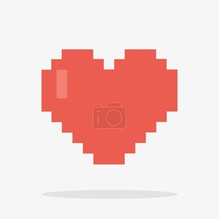 8 Bit Heart Icon in Vector