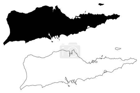 Illustration pour District de Sainte-Croix, Îles Vierges des États-Unis (comté des États-Unis, États-Unis d'Amérique, États-Unis, États-Unis) illustration vectorielle de la carte, croquis à griffes Carte de l'île Sainte-Croix - image libre de droit