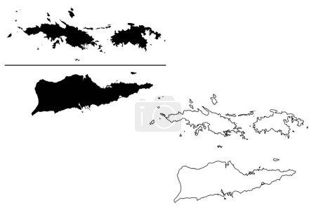 Illustration pour Îles Vierges des États-Unis d'Amérique (États-Unis d'Amérique, États-Unis d'Amérique, États-Unis d'Amérique) illustration vectorielle de la carte, croquis en croquis Îles Vierges des États-Unis d'Amérique (Saint Thomas, Saint John, Sainte Croix) carte - image libre de droit