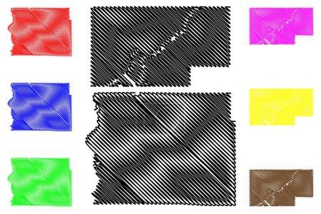 Illustration pour Comté de Rusk et St. Croix, État du Wisconsin (comté des États-Unis, États-Unis d'Amérique, États-Unis) illustration vectorielle de carte, croquis à griffonner carte - image libre de droit