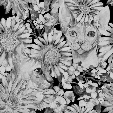 Gerber, Chrysanthemum, Sphinx.Blooming apple tree. Watercolor seamless pattern.
