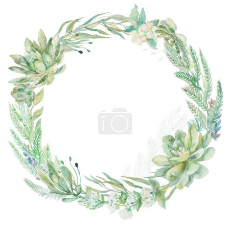Photo for Wreath succulents and eucalyptus. Greeting card art - Royalty Free Image