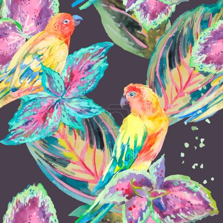 Watercolor Parrots .Tropical flower and leaves. Exotic.