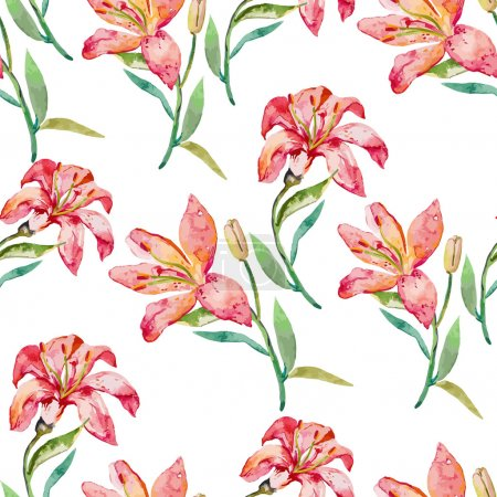 Seamless vector floral pattern. Lilies flowers