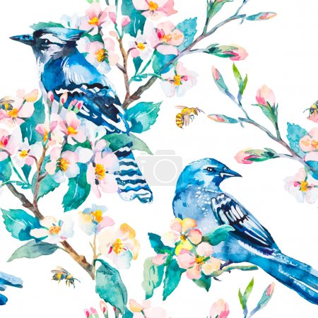 Blue jay on a flowering branch.  Spring pattern. Watercolor art.