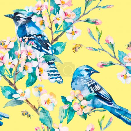 Blue jay on a flowering branch.  Spring vector pattern.