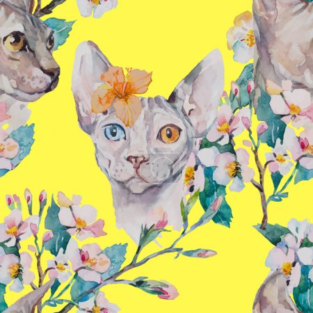 Hand drawn pattern Elegant Sphynx cat and tropical flower. Fashion portrait of cat.Sphinx. Spring pattern.Flowering branches. Watercolor. Vector.