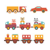 Vector set clip art construction machinery of toys for children