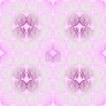 Photo pour Fond de grille géométrique abstraite, ellipses sans couture et tissu dentelle jacquard, rose et violet diamond sur pastel vert, délicat et romantique - image libre de droit