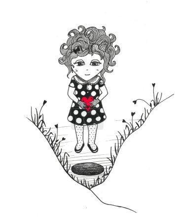 Photo pour Petite fille au cœur rouge près du trou - image libre de droit