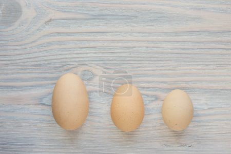 three eggs different sizes