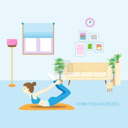 Illustration pour Personnage dessin animé fille faire des exercices de yoga à la maison illustration vectorielle. - image libre de droit