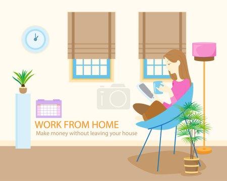 Illustration pour Conception de concept de travail à domicile. Jeunes, femmes pigistes travaillant sur des ordinateurs portables et des ordinateurs à la maison, Étude en ligne, éducation, Illustration vectorielle - image libre de droit