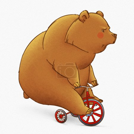Photo pour Dessin animé drôle mignon grizzli brun illustration - image libre de droit