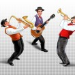 Постер, плакат: Musicians saxophonist trumpet player guitarist Retro music illustration