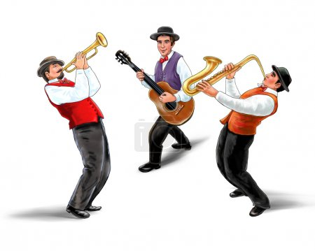 Photo for Jazz band, music group, isolated on white background, Trio music players, holiday concert. Digital illustration. For music Art, Print, poster, web, album design. saxophone,  trombone,  trumpet player, horn, violin, jazz, trumpet isolated, music, - Royalty Free Image