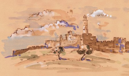 Jerusalem. David's tower - old city of Jerusalem view. Israel. Landscape. Digital Illustration