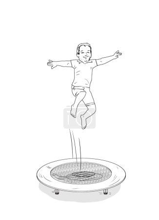 Photo pour Des enfants heureux. Les enfants sautent sur le trampoline. Garçons sautant isolés sur fond blanc. Illustration d'image numérique. Sport, Vacances. Joie. Mesures à prendre . - image libre de droit