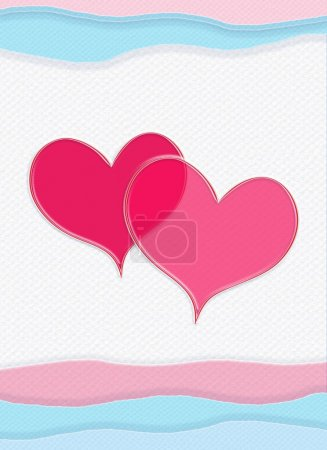 Photo for Valentine Day Greeting Cards, Valentine's Day E-Cards. Card. Valentine Card Messages Happy Valentines, Valentine Greeting Card. Love is the most wonderful of all feelings in this world. Greeting card with two red hearts on white homemade background. - Royalty Free Image