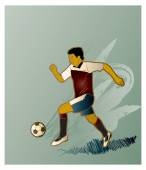 Soccer player football player Vector Illustration EURO 2018 Championship soccer player Olympic Games Retro hand drawn football player illustration Vintage football banner flyer sport Active people Running man Runner Clip art Football Goal