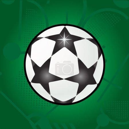 Ball stars on green field background. Football. Stars ball Vector. Soccer ball logo. Soccer ball with stars. Soccer Champions League stars ball label, sticker, banner, flyer.