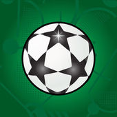 Ball stars on green field background Football Stars ball Vector Soccer ball logo Soccer ball with stars Soccer Champions League stars ball label sticker banner flyer