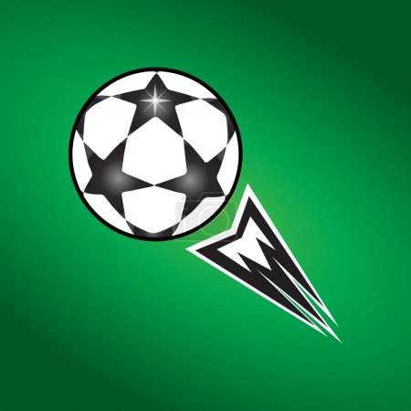 Soccer Stars ball fly on green background. Ball Vector Illustration. Soccer Ball with stars. Football Champions League ball Finale Match. Soccer Ball. Soccer ball icon on Football Green Field. Champions League ball stars logo. Ball icon, logo, label