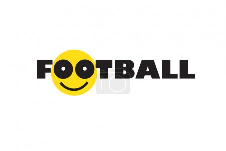 Football with smiley face. Sport Soccer icon. Football logo design. Isolated on white background. T-shirt print. Smile icon. Vector Illustration. Kids Sport Football banner. Football poster. Football wallpaper.