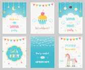 Set of Birthday and Sleepover Kids Party Invitations