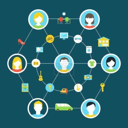 Illustration pour Illustration du concept de consommation collaborative et d'économie partagée - image libre de droit