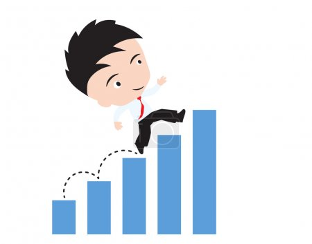 businessman happy to walk and running up over bar chart or graph trend, road to success concept, presented in vector form