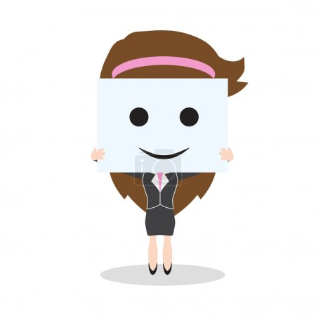 Illustration for Business woman showing smile face on white background, vector illustration in flat design - Royalty Free Image
