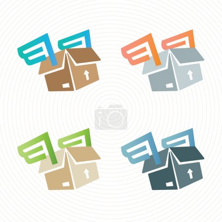 Vector cardboard box with wings. Delivery logo.