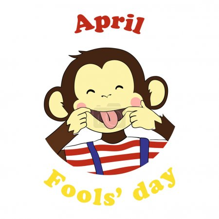 Illustration for 1 April Fools day. Vector funny cartoon All fools day icon. April fool prank. Ape put out tongue. - Royalty Free Image