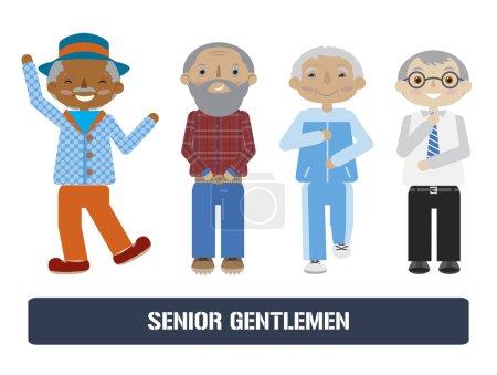 Illustration pour Ensemble de personnes âgées. Vecteur de dessin animé plat. Collection hommes âgés. Différentes activités . - image libre de droit