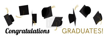 Illustration for Graduation celebration. Graduation ceremony. Graduation party. Hats off.  Graduation caps high in the sky. Greeting card design. Vector flat design. - Royalty Free Image