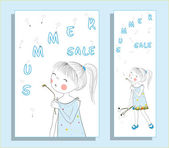 Summer sale design Two banners collection One of a set - seasonal banners Can be used for flyers banners or posters Vector illustration with cute girl