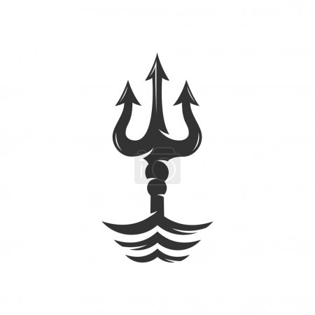 Trident on the waves vector logo - stock vector...
