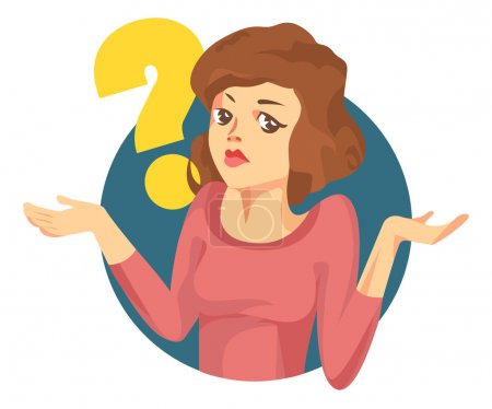 "Illustration for Vector woman with a question mark. Girl doubts. ""I dont know"" expression - Royalty Free Image"