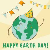 Happy Earth Day vector illustration Cute kawaii planet character