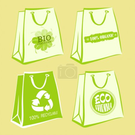 Set of white paper bags with ecological signs and green contours. Bio certificate, 100% organic, eco friendly, recyclable labels. Vector illustration