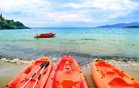 canoe at Stoupa beach in Peloponnese Greece