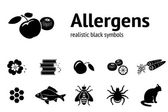 Allergen set 11 realistic icons from tipical food and common allergens Black silhouettes Vector