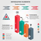 Infographics elements 3d columns chart of data with icons and shadow Business step options Prismatic solid and timeline diagram with icons Modern colored flat banner with five options Vector