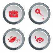 Medical tool icon set Tweezers tampons bandage enema clyster vision instrument bag buttons Health symbol Round three-dimensional button with shadow Vector