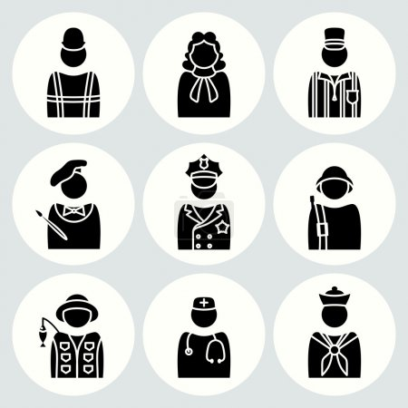 People profession icon set. Judge, painter, referee, doctor, cook, seaman, soldier, sailor, fisherman, builder, worker, policeman. Business symbols. Black avatar silhouette on white buttons. Vector